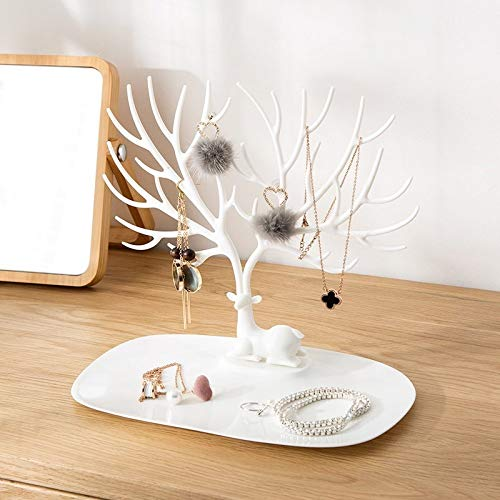 SHUNDA Hanging Ornament Organizer Tabletop Necklace Holder Display Stand Tree With Ring Tray Bracelets Earrings Rings And Watches,Black-OneSize