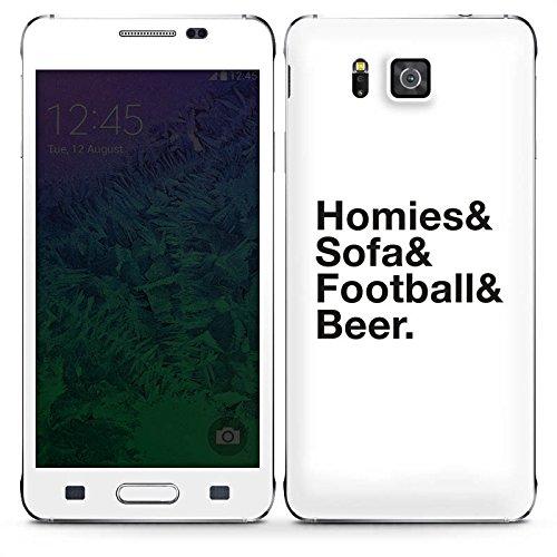 DeinDesign Samsung Galaxy Alpha Case Skin Sticker aus Vinyl-Folie Aufkleber Fußball Bier Luxus