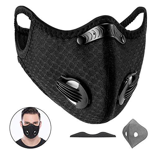 Yeswell Staubmaske Fahrrad Maske mit 1 Aktivkohlefilter Baumwolle und 2 Auslassventilen Allergie Maske Gesichtsschutz Staubdicht Maske für Radfahren Laufen Fitness Outdoor-Aktivitäten, Schwarz