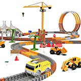 Construction Race Track Set for Kids, 240PCS Flexible Car Race Track with 2 LED Trucks, Race Track Playset with Liftable Tower Crane, Best Construction Toy Gift for 3 4 5 6 Year Old Boys and Girls
