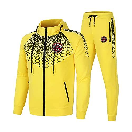 SPONYBORTY Conjunto de chándal para hombre y mujer Traje de jogging Raptors Suéter con capucha a rayas de 2 piezas + Pantalones traje deportivo Largo/yellow/XXL