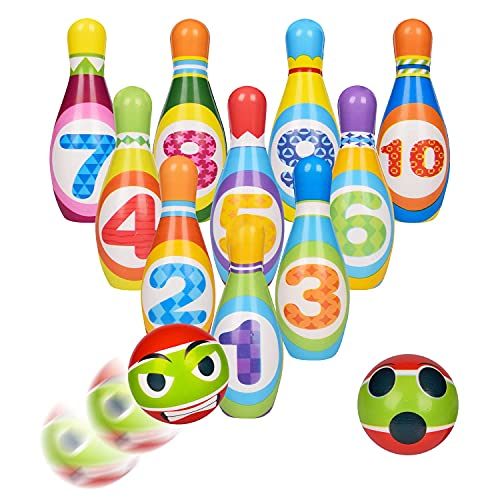 UMESONG Kids Bowling Set Toys 10 Color Bowling Pins with Number Outside Toddler Toy for 3 4 5 6 Year Old Boys & Girls Educational Children Game for Indoor, Outdoor, Birthday Party Gift