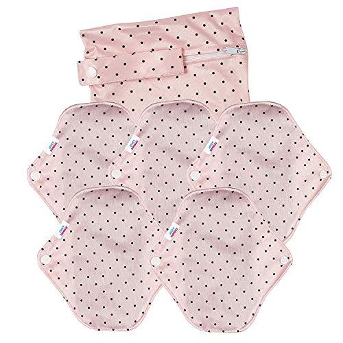 Wiederverwendbare Bambus-Tuch Damenbinden – Menstruations-Hygienetücher CSP mit Flügeln – Waschbare Slipeinlagen – Leichte/Reguläre/Mittlere Stärke + Beutel für benutzte Binden