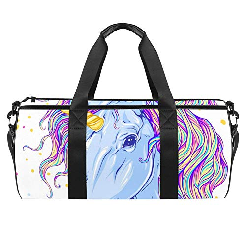 TIZORAX Sports Gym Bag Waterproof Roll Duffel Bag Unicorn Rainbow Travel Gym Tote Dry Wet Separated Luggage for Women and Men