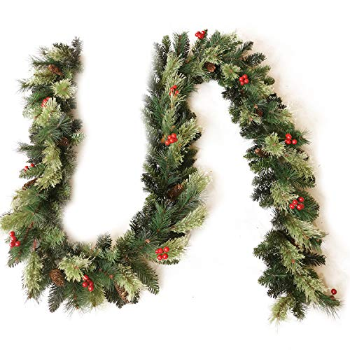 Senjie Artificial Christmas Garland with Pine Cones and Red Berries,9 Foot by 10 Inch Xms Decorations Unlit