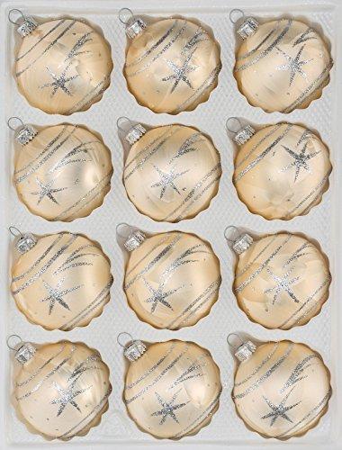 12 tlg. Glas-Weihnachtskugeln Set in