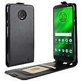 JARNING Compatible con Motorola Moto G6 Plus XT1926-6 Fundas de PU Cuero Flip Leather Case Cover Carcasa Funda con Ranura de Tarjeta Cierre Magnético -Negro