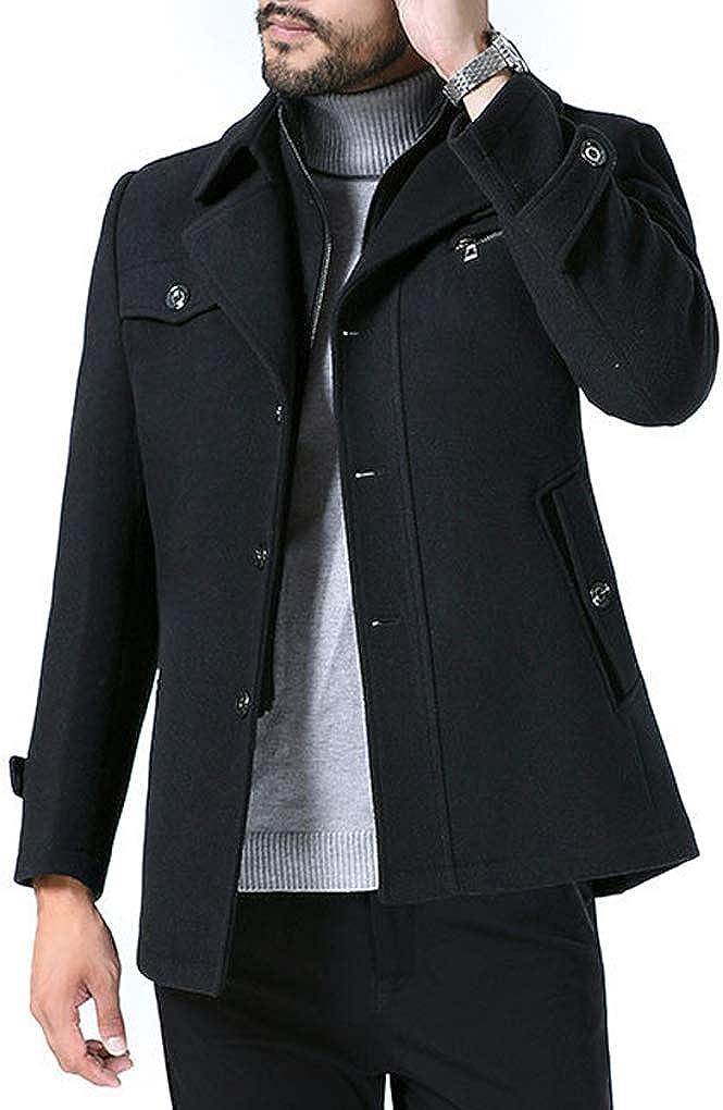 Men Autumn Winter Business Casual Thickened Wool Blend Coat Burgundy Grey Light Tan Navy Black