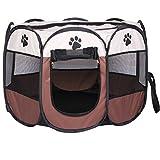 REAYOU Pet Portatile Pieghevole Box Portatile Pet casa per Cane Cucciolo di Gatto Esercizio 8 Pannelli Kennel Maglia Copertura Ombra Coperta/Esterna Tenda Recinzione per Cani Gatti (L)