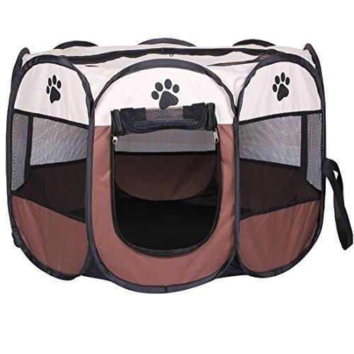 REAYOU Pet Laufstall Hund Welpen Laufstall altbarer Haustier-Hundezelt-achteckiger Haustier-Katzen-Zaun-Hundeförderer-Käfig für Innenaußenreise-Haus