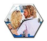 Orologio con foto personalizzato da parete su tela forma esagonale cm.32x28 Quadro orologio personal