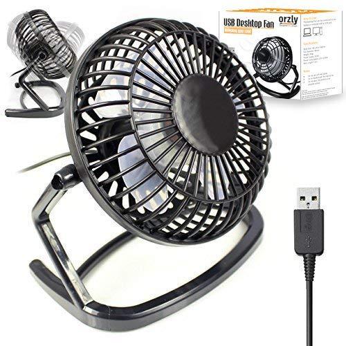 Orzly Ventilador USB - Mini Ventilador de Mesa Portátil Rotación 360º Pequeño y Potente Ventilador Silencioso para Hogar y Oficina – Negro