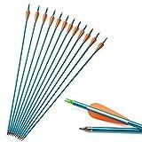 SHARROW Freccia di Alluminio 30 Pollice Freccia in Alluminio Frecce da Caccia Spine 500 per Arco Compound e Arco Ricurvo (6)