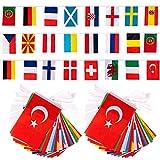 2021 Europapokal Flaggenkette Girlande 2 Stück International Länderflaggen 8M Fahnenkette Flaggen Dekorationen für Bar, Sportvereine, Fußball-WM-Party, Party der , Internationale Feierlichkeiten