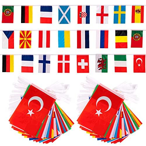 2021 Drapeau De La Coupe Europe 2PCS Drapeaux de 24 Pays Européens Guirlande 14 * 21cm International Bannière pour Bar Restaurant Garden Party Décoration
