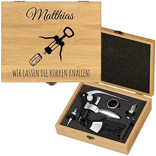 Murrano Weinöffner-Set personalisiert Weinset Sommelier Set - Geschenkbox Holzbox + 6er Weinzubehörset - aus Bambus - Braun - Geschenk zum Geburtstag für Männer - Flaschenöffner