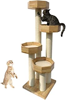 Cat Tower Popular Cat Toy Cat Trees and Towers Cat Castle Toys, Cat Scratch Post Play Large Wooden Lodge Lounger Sleeping ...