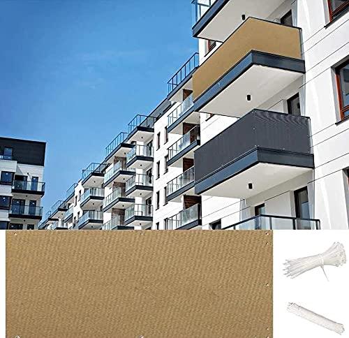 GGMWDSN Malla para Jardin Exterior, Protector Balcon, Malla Protectora Balcon, Vallas Terraza, ProteccióN contra el Viento UV para BalcóN, JardíN, Piscina,Khaki-0.5 * 10m