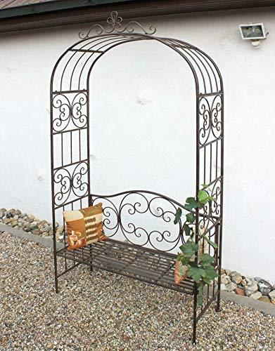 GXK Rosenbogen mit Bank Metall 250 cm Gartenbank Spalier Pergola Kletterhilfe