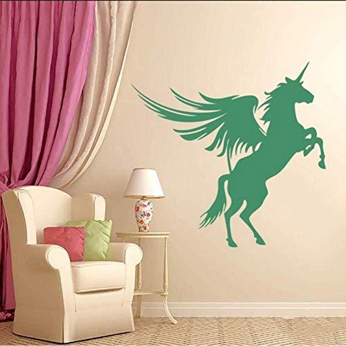 Muursticker vinyl sticker eenhoorn Pegasus paard met vleugels diervliegen huishoudartikelen kunst design muurschildering interieur moderne poster 59 * 57cm
