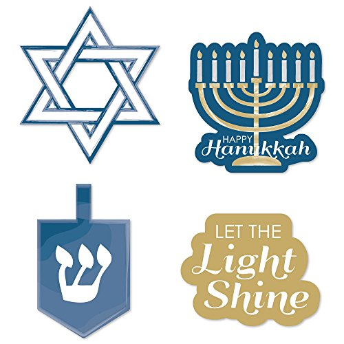 Big Dot of Happiness Happy Hanukkah - DIY Shaped Chanukah Cut-Outs - 24 Count