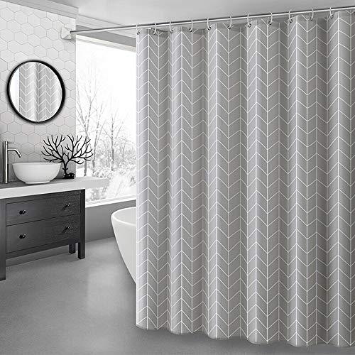 Lfives-hm Duschvorhänge Polyester Duschvorhang Badezimmer Dekorative Duschvorhänge Grau Pfeil entworfene wasserdichte moldproof mit Haken für Badezimmer Badewanne (Farbe : Grau, Größe : 150x180cm)