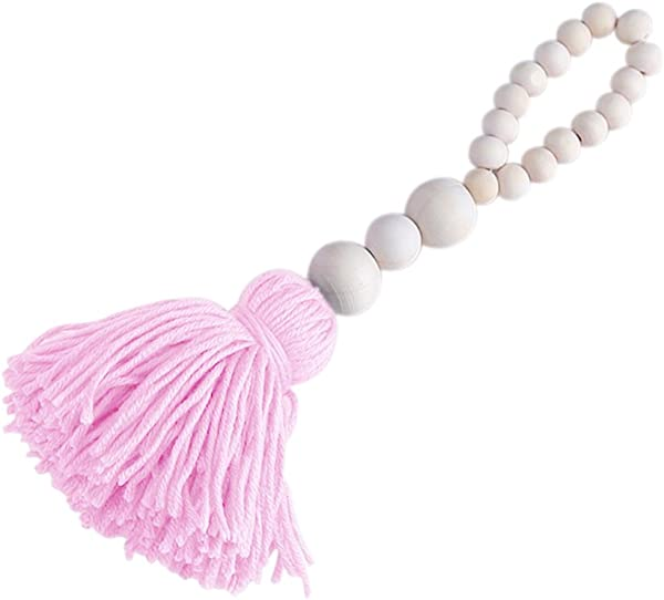 Afco Nordic Wood Beads Tassel Design Kids Room Tent Bed Wall Hanging Ornaments Pink