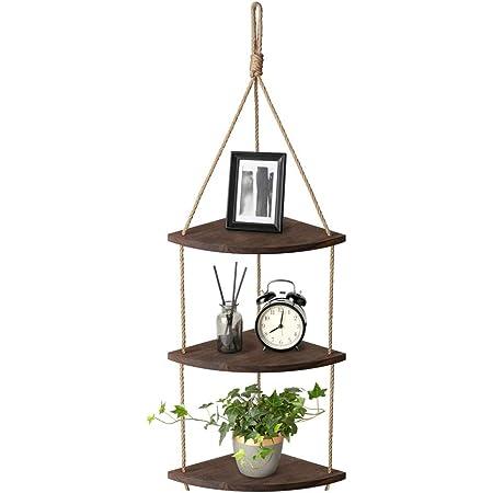 AIFUSI Estantería colgante de pared de 3 niveles, esquinera, cuerda de yute, pequeño organizador, estantería para plantas, para salón, baño, cocina, ...
