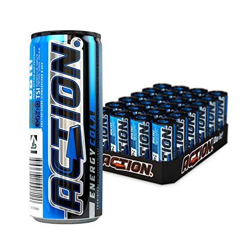 ACTION Energy Cola EINWEG, 24 x 250 ml, inkl. Pfand, Klassischer Energy Drink mit Cola Geschmack, 32 mg Koffein / 100 ml, 24 Dosen, erhöhter Koffeingehalt