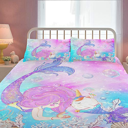 ZOEO Girls Mermaid Twin Bedding Set Pink Blue Unicorn Magic Cat Bed Sheets Sets Cartoon Bedspreads Cute Duvet Cover Set 3 Pieces for Teens