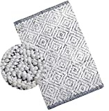 Woven St Luxury Chenille Microfiber Bath Rug Floor mat for Spa Vanity Shower Super Soft Machine Washable for Bathroom/Kitchen Water Absorbent Anti-Skid Bedroom Area Rugs (21' x 34', White and Navy)