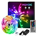 HQVOIC LED Strip Lights 16.4ft Tape Lights Color Changing 5050 RGB LEDs Light Strips Kit with Remote for Home Lighting Kitchen Bed Flexible Rope Lights for Bedroom Home Decoration