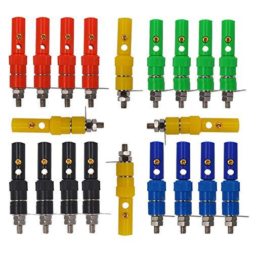 Senven 40pcs connecteur banane, adaptateur de terminal banane 4mm, connecteur banane, connecteur femelle panneau banane - 5 couleurs (20 mâle + 20 femelle)