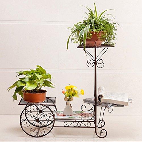 GFL Planteau en Pot à Fleurs en Bois Couches Multiples Porte-Fleurs Porte-Objets en métal décoratifBalcony Pots de Fleurs au Sol Shel Fmulti-Color en Option (Couleur : Bronze, Taille : 70 * 65CM)