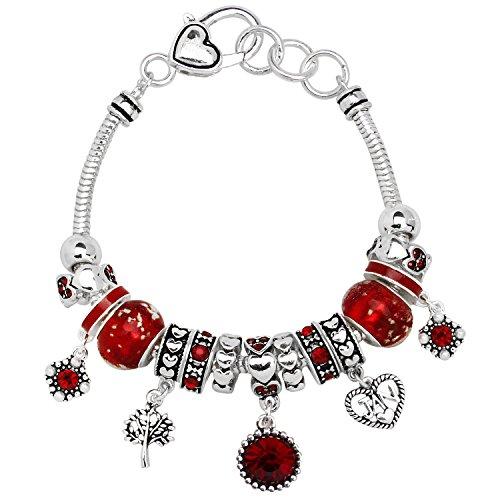 Birthstone Bracelet Multi-Color Charm Beads Silvertone January OB07234-JAN