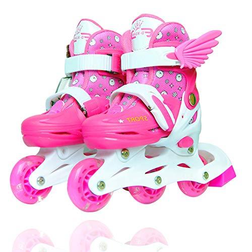 Sumeber Inline Skates Kinder mit Verstellbarer Länge Kid Boys Girls Rollschuhe Outdoor/Indoor (Pink-Inline, S (31-34))