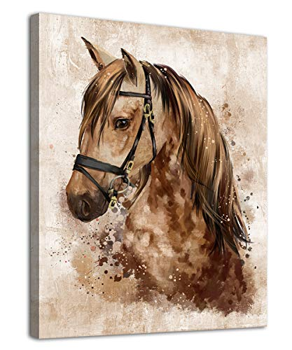 arteWOODS Abstract Wall Art Horse Canvas Pictures Watercolor Painting Prints Modern Abstract Animal Vintage Canvas Artwork Rustic Contemporary Wall Art Framed Ready to Hang 12' x 16'