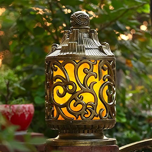 Rishx De luxe en plein air imperméable à l'eau de lumière en aluminium antirouille E27 Edison colonne lampe Villa Cour pelouse terrasse décoration pilier lanterne en verre rue chemin éclairage Fixutre