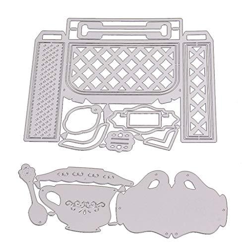 Chihuobang Schablone für Kaffeetasse, zum Basteln, für Scrapbooking, Papier, Dekorative Prägeschablonen, Metall zum Basteln von Karten