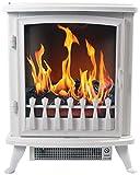 Chemin 'Arte 1403D Fire Glass Elektrischer Kamin, 2000W, Weiß, 45x 29x 55cm