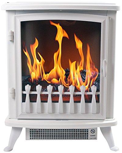 Chemin \'Arte 1403D Fire Glass Elektrischer Kamin, 2000W, Weiß, 45x 29x 55cm