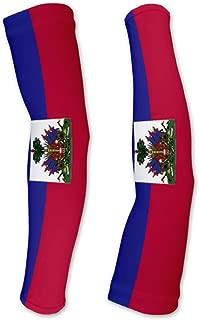 Haiti Flag Compression Arm Sleeves UV Protection Unisex - Walking - Cycling - Running - Golf - Baseball - Basketball