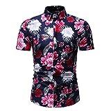Shirt Plage Hommes Manches Courtes Et Coupe Ajustée Hommes Musculaire Shirt Imprimé Mode Patte De Boutonnage D'Été Hommes Shirt Loisirs Col Kent d'affaires D'Hawaï Hommes Chemise C-Red XL