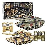 2 paquetes Tanque de control remoto 1:24 Scale Remote Control Car 2.4GHz Radio Radio Controlado Airsoft + Efectos + Artillería de humo + Disparos Modelo de kit de batalla de simulación de alta velocid