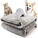 Onarway Bilayer Fluffy Sherpa Dog Blankets Thicken 39.4 x 47.2 inch Soft Washable Pet Throw Blanket Sleep Bed Mat for Dogs Puppy Cats & Other Small Medium Pets Grey