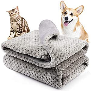 Onarway Bilayer Fluffy Sherpa Dog Blankets Thicken 31.5 x 39.4 inch Soft Washable Pet Throw Blanket Sleep Bed Mat for Dogs Puppy Cats & Other Small Medium Pets Grey