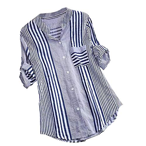 Dorical Damen Leinen Blusen Elegant Langarm Freizeit Oberteil Lose Langarmshirt Tunika Hemd mit Taschen Bluse Langarm Shirt Lässige Lose Tunika Tops T-Shirt Hemdbluse Große Größen(15-Blau,XX-Large)