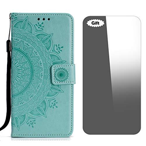 LG V30/LG V30 Plus Hülle, Conber Lederhülle Handyhülle + [Frei Schutzfolie], Totem Stoßsichere Kartenfach PU Tasche Leder Flip Hülle Cover Schutzhülle für LG V30/V30+/V30S ThinQ - Minzgrün