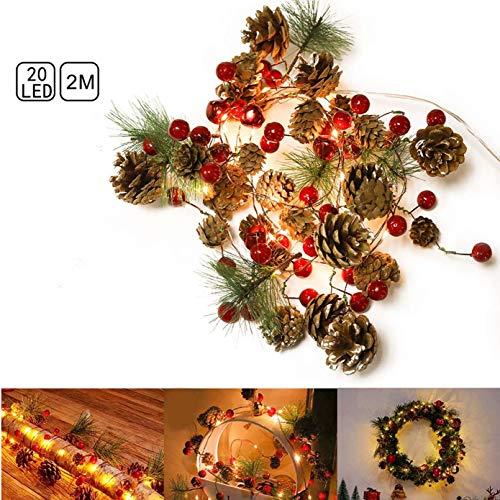 Parti 20 LED Weihnachtsbeleuchtung, 2 M Weihnachtsgirlande Winterdekoration Lichter mit Roten Beeren, Tannenzapfen & Immergrünen Tannennadeln Weihnachtsbaumdekor für Haus, Küche, Bar, Kamin Außengrün