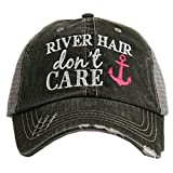 TRENDY SUN HAT: The high quality curved bill design will keep the sun out of your eyes so you can enjoy your weekend on the river without a sunburn! Perfect river or beach accessory! ONE OF A KIND STYLE: Fully embroidered, high visibility, distressed...